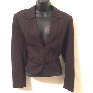 Guy Laroche Couture Blazer Jacket Brown Pinstripe